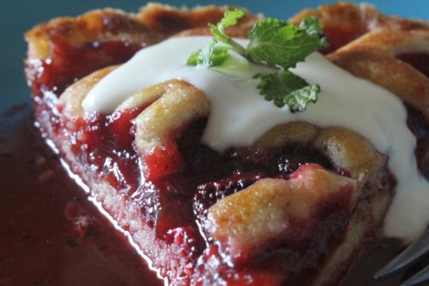 Strawberry and mint tart