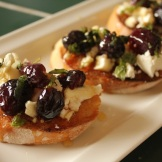 roasted grape on bruschetta