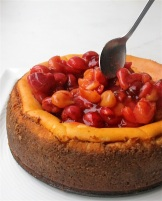 Cherry salsa crowning a cheesecake