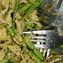 Genoise Basil pesto stirred into farfalle and green beans for a quick and healthy lunch