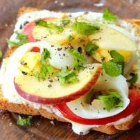 A yogurt based dip transforming a slice of bread into quick breakfast heaven